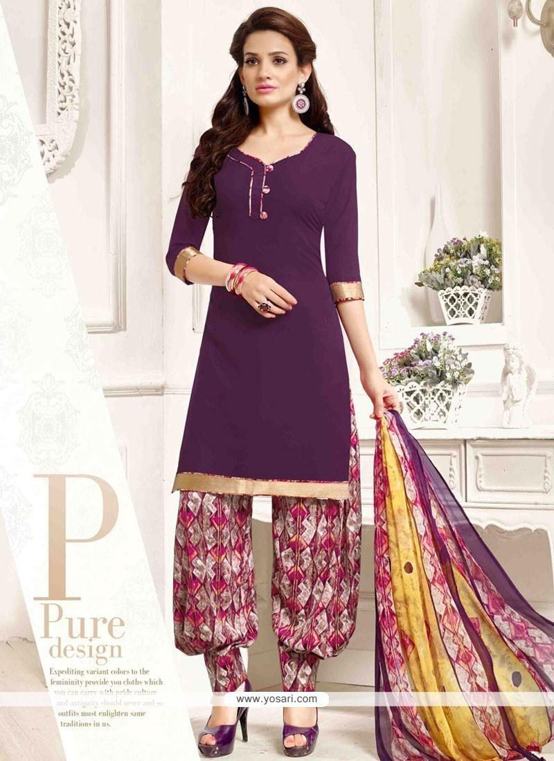 Perfervid Pure Crepe Purple Designer Patila Salwar Suit
