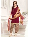 Amusing Pure Crepe Maroon Designer Patila Salwar Suit