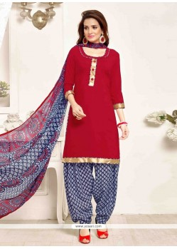 Cute Red Pure Crepe Designer Patila Salwar Suit