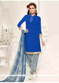 Fascinating Print Work Blue Pure Crepe Designer Patila Salwar Suit