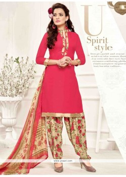 Fabulous Pink Print Work Designer Patila Salwar Suit