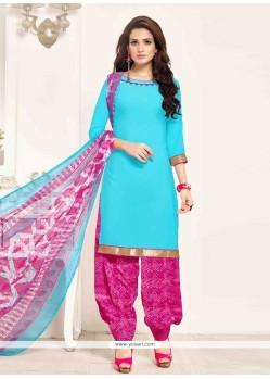 Swanky Pure Crepe Blue Designer Patila Salwar Suit