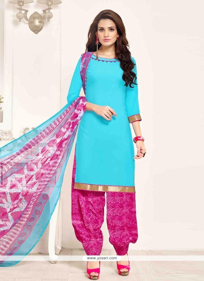 be159aa193 Buy Swanky Pure Crepe Blue Designer Patila Salwar Suit | Punjabi ...