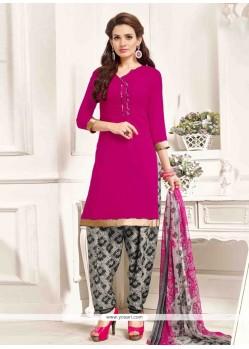 Stunning Print Work Pure Crepe Pink Designer Patila Salwar Suit