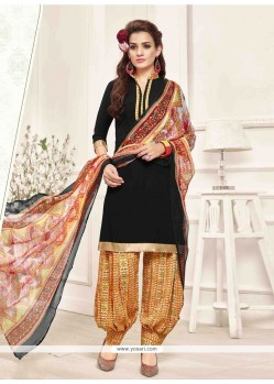 Modest Pure Crepe Black Print Work Designer Patila Salwar Suit