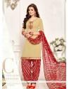 Magnetize Cream Designer Patila Salwar Suit