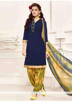 Fab Navy Blue Print Work Designer Patila Salwar Suit