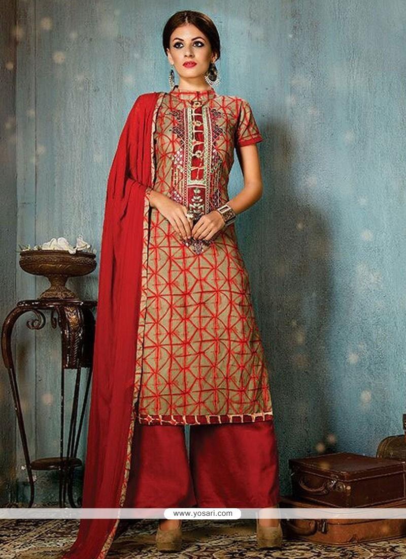 Resplendent Cotton Print Work Designer Palazzo Salwar Suit