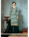 Prominent Print Work Cotton Green Designer Palazzo Salwar Suit