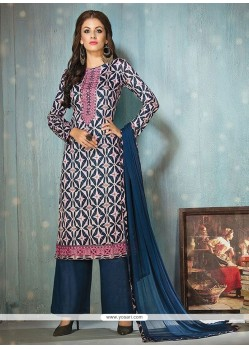 Fine Print Work Cotton Navy Blue Designer Palazzo Salwar Suit