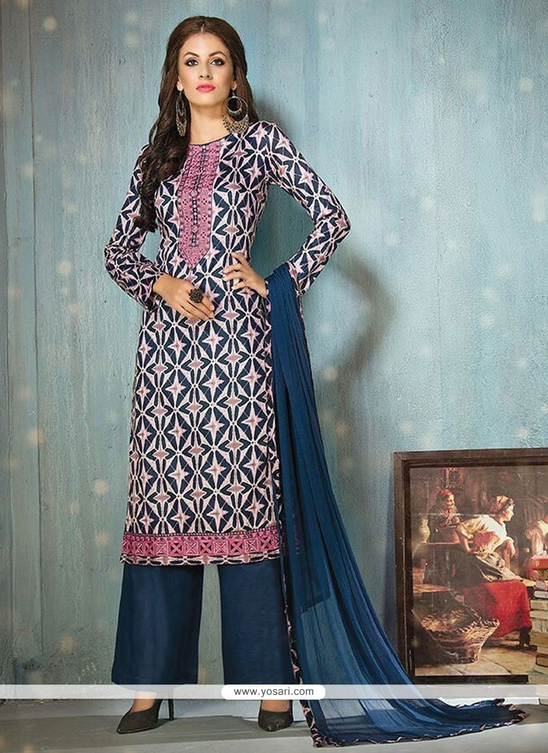 Fine Print Work Cotton Navy Blue Designer Palazzo Salwar Suit