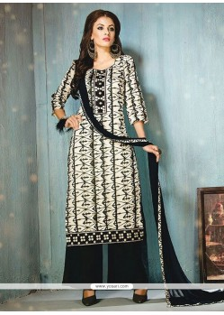 Pretty White Print Work Cotton Designer Palazzo Salwar Suit