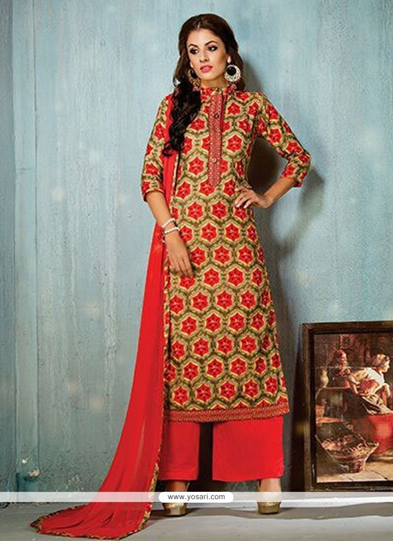 Blooming Multi Colour Print Work Designer Palazzo Salwar Suit