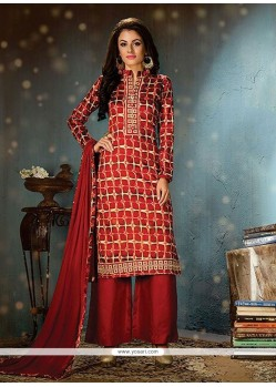 Enchanting Cotton Maroon Print Work Designer Palazzo Salwar Suit