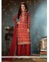 Enchanting Cotton Maroon Print Work Designer Palazzo Salwar Suit