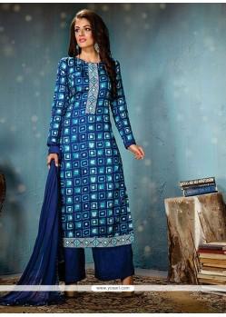 Suave Cotton Blue Designer Palazzo Salwar Suit