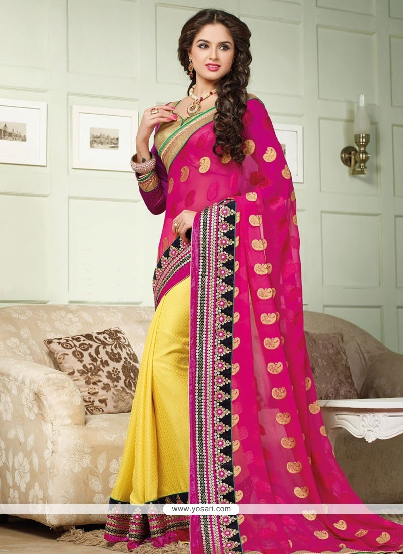 Yellow And Magenta Georgette Saree