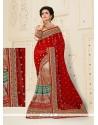 Cute Net Red Designer Half N Half Saree