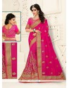 Magnificent Embroidered Work Hot Pink Designer Half N Half Saree