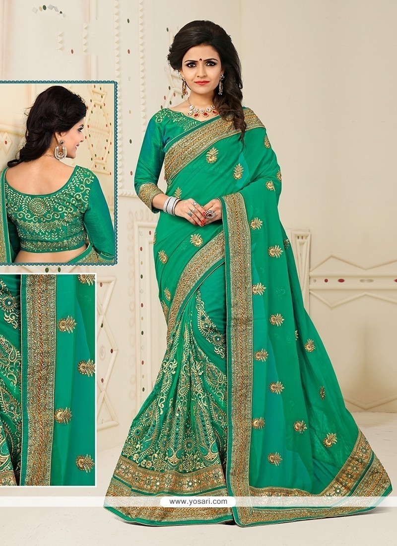 Artistic Net Patch Border Work Designer Half N Half Saree