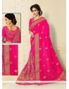 Magnetic Hot Pink Net Designer Half N Half Saree