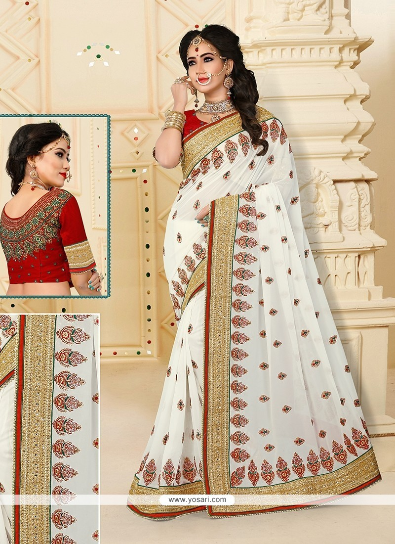 Stupendous Patch Border Work Off White Designer Traditional Sarees