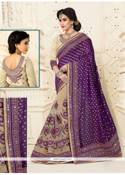 Embroidered Viscose Designer Half N Half Saree In Purple