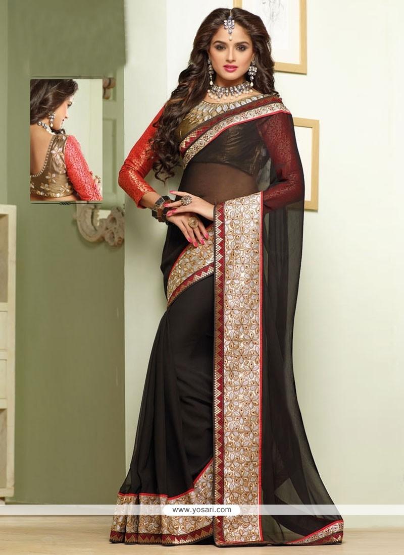 Dazzling Black Georgette Designer Saree