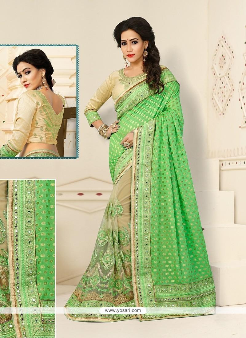 Appealing Green Embroidered Work Designer Half N Half Saree