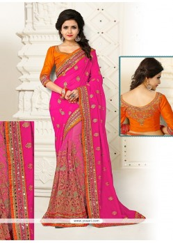 Deserving Net Hot Pink Designer Half N Half Saree