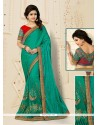 Wonderous Silk Sea Green Embroidered Work Designer Half N Half Saree
