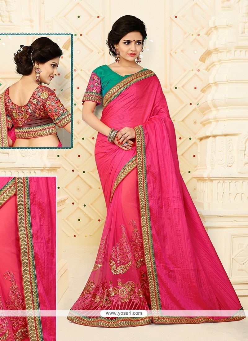 Intriguing Silk Hot Pink Patch Border Work Designer Half N Half Saree