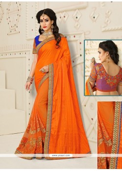 Orange Patch Border Work Silk Designer Half N Half Saree