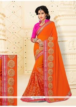 Radiant Red Designer Half N Half Saree