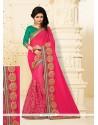 Entrancing Hot Pink Net Designer Half N Half Saree