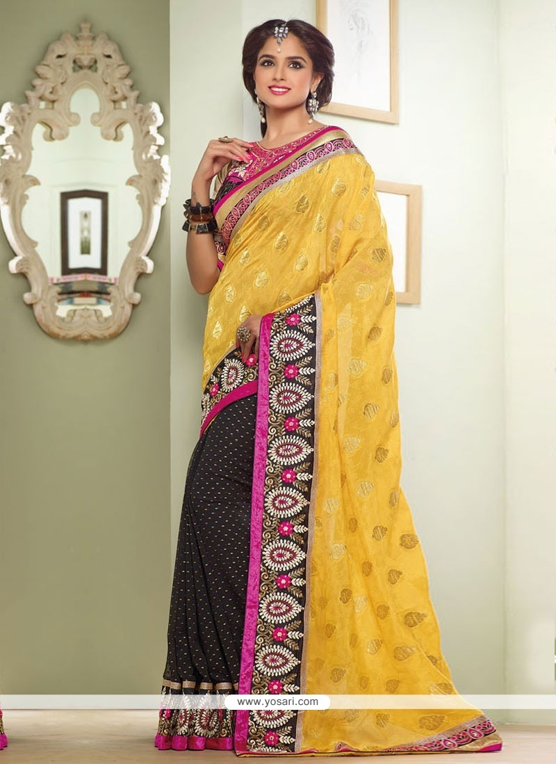 Yellow Jacquard Half And Half Saree