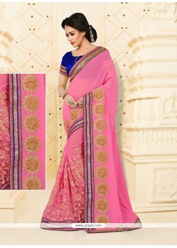 Tempting Embroidered Work Net Designer Half N Half Saree