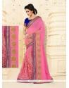 Tempting Embroidered Work Net Designer Half N Half Saree