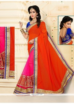 Alluring Hot Pink And Orange Patch Border Work Designer Half N Half Saree
