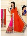Alluring Hot Pink And Orange Patch Border Work Designer Half N Half Saree