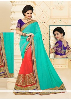 Festal Orange Georgette Designer Half N Half Saree