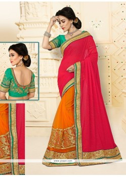 Classical Net Orange Designer Half N Half Saree