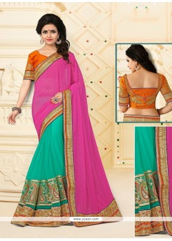 Patch Border Georgette Designer Half N Half Saree In Sea Green