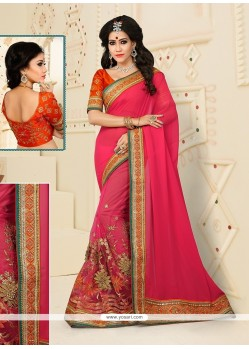 Dignified Patch Border Work Designer Half N Half Saree