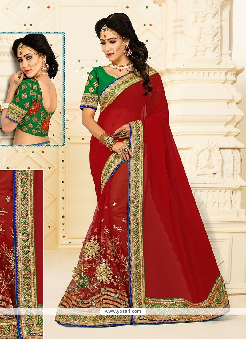 Red Embroidered Work Net Designer Half N Half Saree