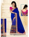 Deserving Net Blue Designer Half N Half Saree