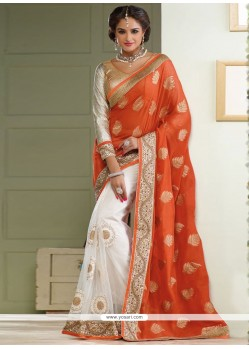 Off White And Orange Georgette Half And Half Saree