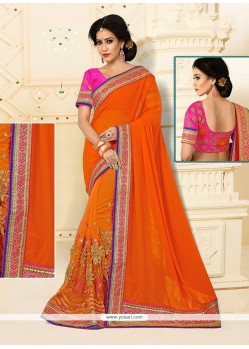 Dazzling Orange Patch Border Work Designer Half N Half Saree