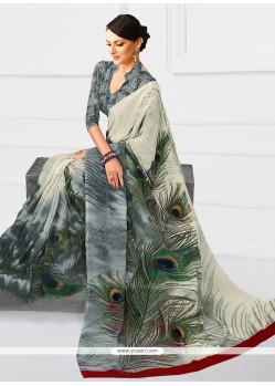Sightly Georgette Multi Colour Print Work Printed Saree