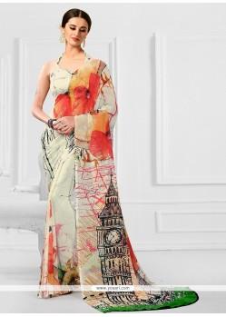 Sensational Georgette Print Work Printed Saree